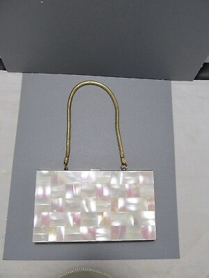 Vintage Mother of Pearl  Goldtone 1950's Purse Compact