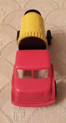 Vintage Antique Plastic Wannatoys Cement Mixer Truck Red And Yellow Old