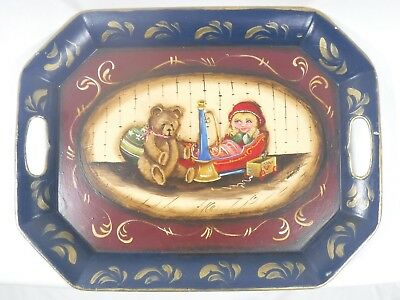 Antique Metal Tole Serving Tray ~ Toleware ~ Hand Painted
