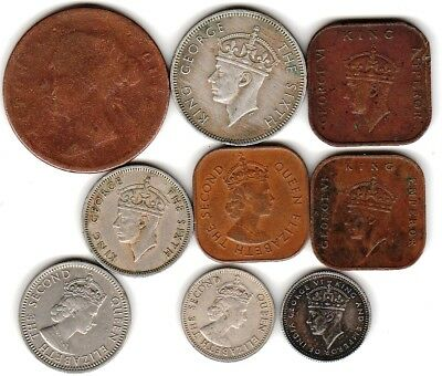 9 different world coins from BRITISH MALAYA
