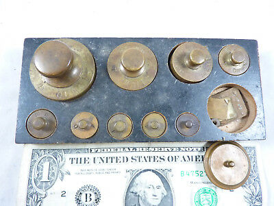 Set of Troy Ounce Gold Scale Weights Pennyweights in Block 2 PW to 8 Ounce