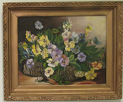 """ANTIQUE 19c GORGEOUS FLORAL OIL PAINTING """" PANSIES IN THE BASKET"""" , LARGE"""
