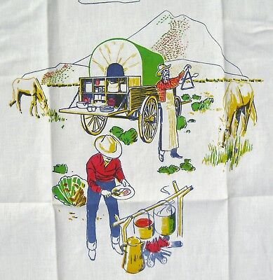 UNUSED Vintage PARVIN CREATION Barbecue Chefs Apron Western Covered Wagon NEW