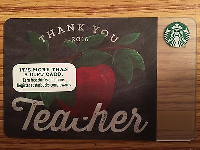Starbucks 2016 THANK YOU Teacher Gift Card Never Swiped NO $ VALUE
