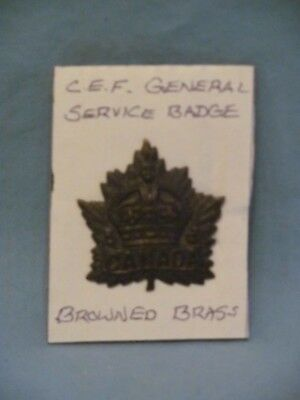 Canadian WWI C.E.F. General Service Browned Brass Cap Badge