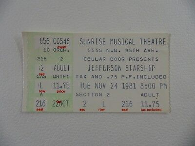 Jefferson Starship at the Sunrise Musical Theatre 11/24/81 Ticket Collectible