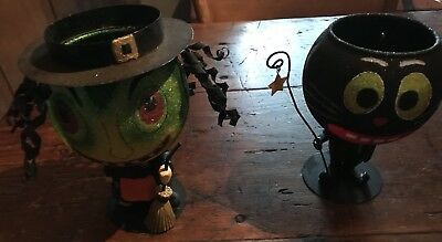"Dept 56  Halloween Witch and Cat Glitterville Votive! 7"" Tall! Beautiful Fun!"