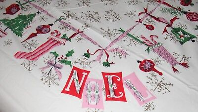 """Huge * Rare * 61"""" X 100"""" Luther Travis Mid Century Vtg Christmas Tablecloth Noel"""