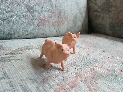 """Small Pink Plastic Pigs (2), approx 2"""" big"""