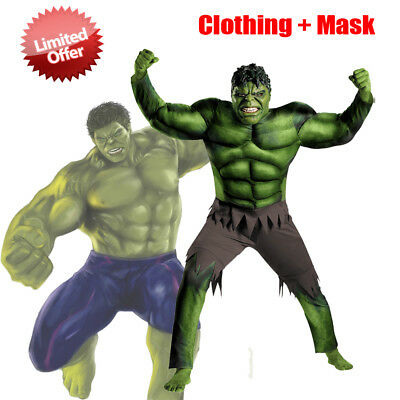 The Avengers Hulk Muscle Mask Costume Boys Cosplay Kids Carnival Fantasy Costume