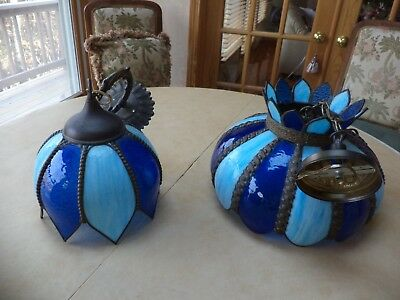 STAINED GLASS LIGHT FIXTURES~VINTAGE~Shades  of Blue ~Opened/Closed Flower Shape