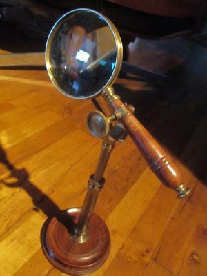 Vintage Brass & Wood Powerful Magnifying Glass On Adjustable Stand