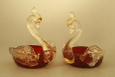 Pair of Vintage Mid Century Murano Swans Ruby Red with Gold Inclusions Orig Tags