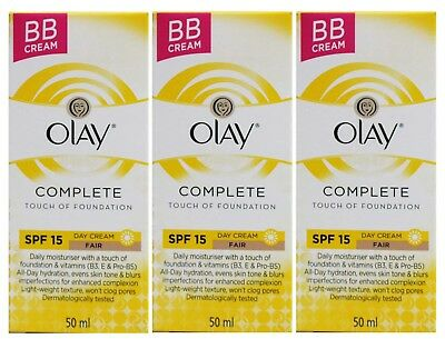 3 X OLAY 50mL COMPLETE TOUCH OF FOUNDATION BB CREAM SPF 15 FAIR