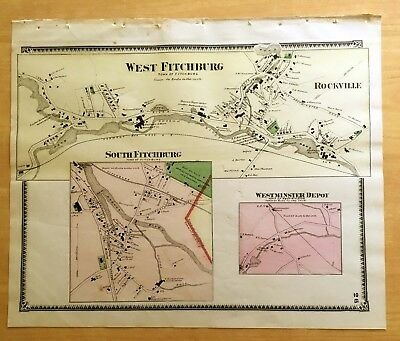 Original Antique 1870 Map WEST FITCHBURG Rockville + MA Massachusetts BEERS