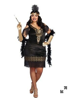 Womens Plus Size Swanky Flapper Costume 3x Black Gold *BOA INCLUDED