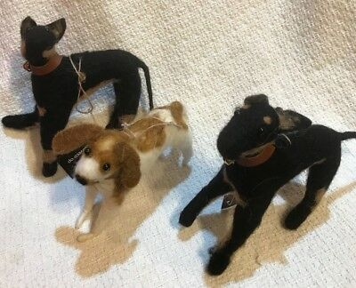 "NWT Set of 3 Assorted 8-1/4""L Wool Dog Christmas Ornaments by Creative Co-op"