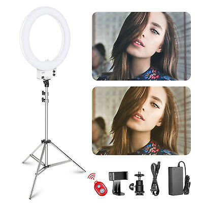 "Neewer 18"" Dimmable White LED Ring Light with Silver Light Stand Lighting Kit"
