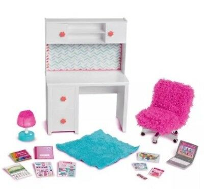 My Life As Desk Set Chair 18 Doll Rug Laptop American Girl Dollhouse Furniture
