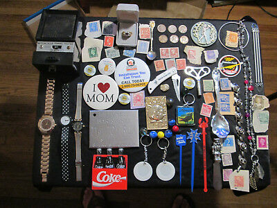 Junk Drawer Lot estate sale old coins old marbles jewelry MOTORCYCLE TIMING TEST