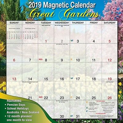 Bartel 2019 Magnetic Wall Calendar, Great Gardens, Postage Included