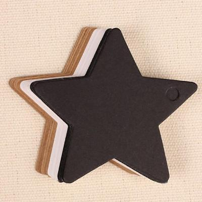 100Pcs Star Kraft Paper Label Gift Card Luggage Tags White Black Brown WT