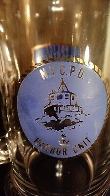 VINTAGE 1990'S  NYCPD HARBOR UNIT GLASS Stein Mug, MINT UNUSED  NYPD BOAT  SHIP