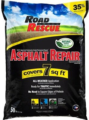 Road Rescue Asphalt Repair Patch Pre Mixed Exterior 50 Lbs Hot Cold All Weather