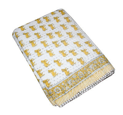 Hand Block Print quilt Kantha baby Quilt Baby Wrap baby Kanth Throw Blanket Kids