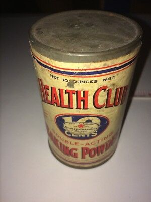 Vintage Health Club Double Acting Baking Power Rumford Chemical Works Tin Can &