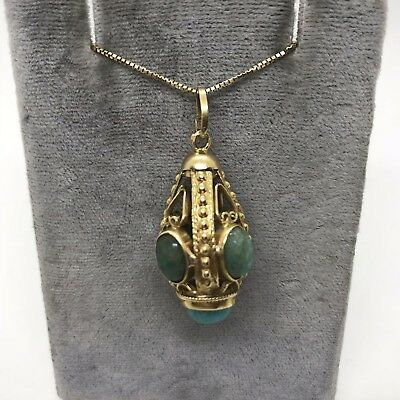 Antique Victorian 18k yellow gold filigree natural turquoise fob charm pendant