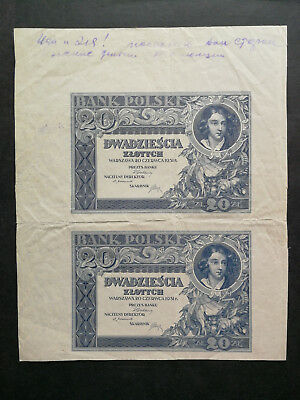 Poland,old banknote 20 Zlotych 1931 uncut pair of proofs
