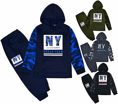 Boys Tracksuit Kids New NY Camo Hoodie And Joggers Slogan Set 2PSC Ages 2-10 Yrs