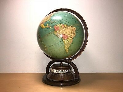 Very Rare Old Globe globe with clock Areas Time - Years 40 Works