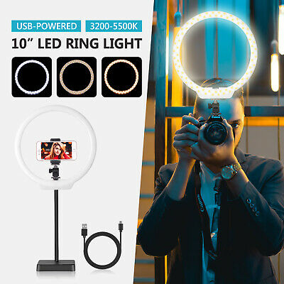 Neewer 10 inches USB-Powered Dimmable Bi-color LED Ring Light with Stand Base