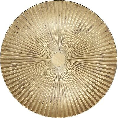 Very Large 39cm Rippled Wood Serving Plate Gold Serving Platter
