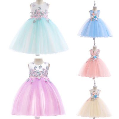 Princess Embroidery Flower Girl Dresses Pageant Wedding Party Gown for Kids Prom