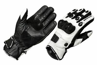 Short Leather White Knuckle Protection Motorbike Motorcycle Sports Gloves