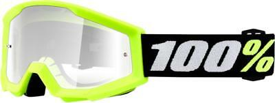 100% Strata Mini Grom Yellow Goggles Clear Lens Motocross Enduro Brille gelb