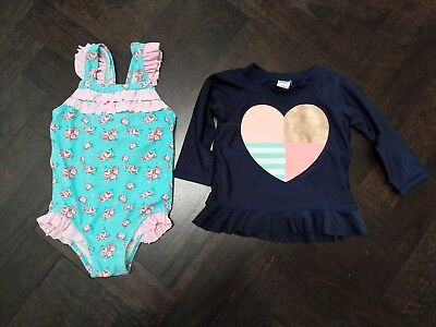 3x baby girl swimmers swimsuit togs long sleeve rashie pink navy blue ruffles