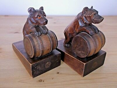 Antique Carved Wooden Bears on Barrels Bookends with Glass Eyes