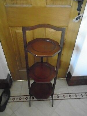 Antique Vintage 3 Tier Mahogany Wood Cake Stand Wood Display  Cafe Shop & Plant