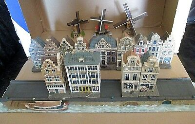 Street Of Amsterdam Houses/canal Set From Anniversary Blokker With 3 Windmills
