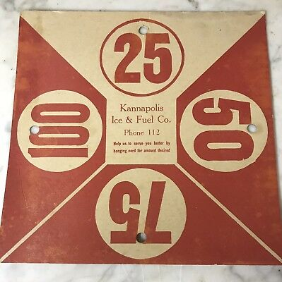 1930s Kannapolis, NC Ice Company Delivery Placard