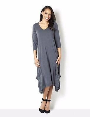 Ladies Join Clothes Jersey Dress with Gathered Hem Detail Grey Medium box55 55 F