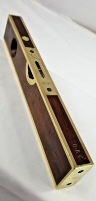 """12"""" Rosewood and Brass Stratton & Bros Level and Plumb BEYOND BEAUTIFUL pat 1872"""