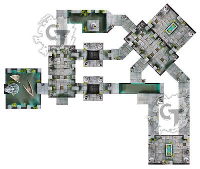 Water Temple Dungeon Tiles Set, Digital Download D&D RPG Dragons Dnd Pathfinder