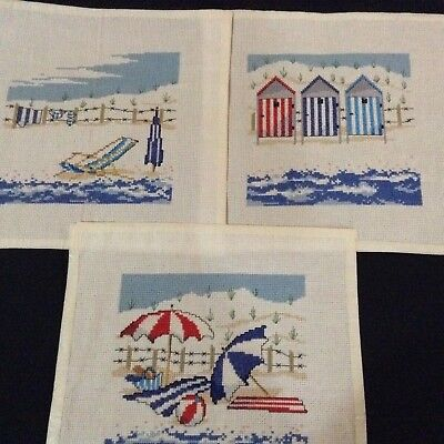 Completed Cross Stitch x 3 - beach theme