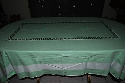 Tablecloth Antique + 12 Towels Cotton Embroidered Mc / Motif Holly / Art Deco