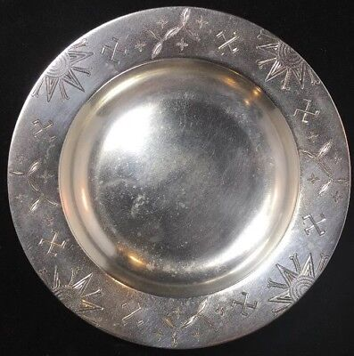 Tiffany Sterling Silver Dish / Pin Tray Etched Native American Symbols 19th Cen